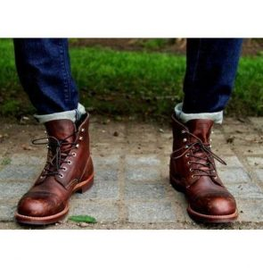 Brown Ankle Leather Boots, Handmade Men